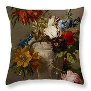 An Arrangement With Flowers Throw Pillow by Georgius Jacobus Johannes van Os