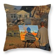 An Artist At Work Throw Pillow by Karol Livote