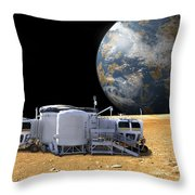 An Artists Depiction Of A Lunar Base Throw Pillow