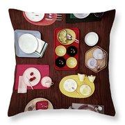 An Assortment Of Dinnerware Throw Pillow