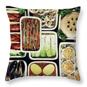 An Assortment Of Food In Containers Throw Pillow