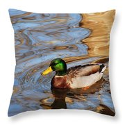 An Autumn Swim Throw Pillow