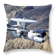 An E-2c Hawkeye Aircraft Flies Throw Pillow