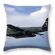 An Ea-6b Prowle In Flight Throw Pillow