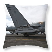 An Ea-6b Prowler Prepares To Launch Throw Pillow