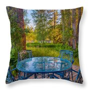 An Early Morning On The Deck At Cottonwood Cottage Throw Pillow