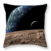 An Earth-like Planet In Deep Space Throw Pillow by Marc Ward