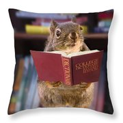 An Educated Squirrel Throw Pillow
