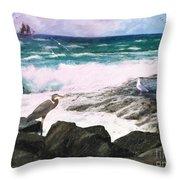 An Egret's View Seascape Throw Pillow