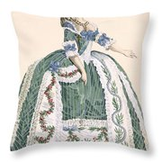 An Elaborate Royal Court Gown, Engraved Throw Pillow