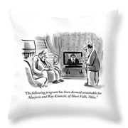 An Elderly Couple Are Seen Watching Throw Pillow