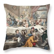 An Election Entertainment, Illustration Throw Pillow by William Hogarth