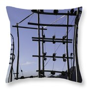 An Electric Transmission Pole In The Himalayas Throw Pillow