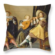 An Elegant Company Playing Music In An Throw Pillow by Dirck Hals