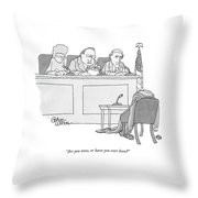 An Empty Suit Sits On A Chair In Court Throw Pillow