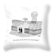 An Enormous Tomb Statue Of A Man's Head Stands Throw Pillow