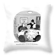 An Excellent Defense. Let's Give Throw Pillow by J.B. Handelsman