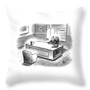 An Executive Sits At His Desk And An Employee's Throw Pillow