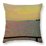 An Expanse Of Sky And Sea Twilight Fishing The Canal St Lawrence River Scenes Art Carole Spandau Throw Pillow