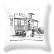 An Exterminator Points Out A Group Of Accountants Throw Pillow