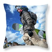 An Extreme Snowboarder Stands Throw Pillow
