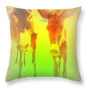 Donkey Mother And Son On An Extremely Hot Day  Throw Pillow