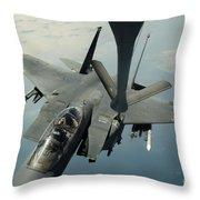 An F-15e Strike Eagle Receives Fuel Throw Pillow