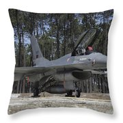 An F-16a Fighting Falcon Throw Pillow