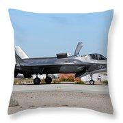 An F-35b Lightning II Landing At Marine Throw Pillow
