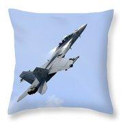 An Fa-18 Super Hornet Of The U.s. Navy Throw Pillow