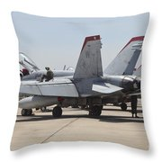 An Fa-18c Hornet Being Readied Throw Pillow