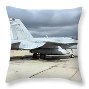 An Fa-18c Hornet On The Ramp At Marine Throw Pillow
