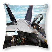 An Fa-18f Super Hornet Sits Throw Pillow by Stocktrek Images