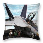 An Fa-18f Super Hornet Sits Throw Pillow