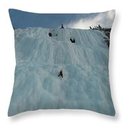 An Ice Climber In The Middle Throw Pillow