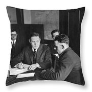 An Immigrant  Being Examined Throw Pillow
