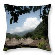 An Indigenous Village In The Jungles Throw Pillow