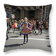 An Irish Dance Group Flying High While Dancing At The 2009 St. Patrick Day Parade Throw Pillow