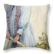 An Italian Peasant Girl Throw Pillow by Ada M Shrimpton