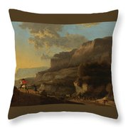 An Italianate Landscape With Travellers Ambushed By Bandits Throw Pillow