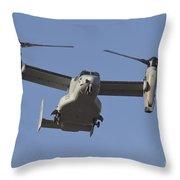 An Mv-22b Osprey Prepares For Landing Throw Pillow