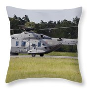 An Nh90 Helicopter Of The Italian Navy Throw Pillow
