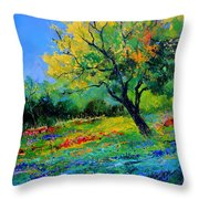 An Oak Amid Flowers In Texas Throw Pillow