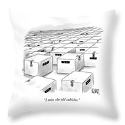 An Office  Full Of Locked Boxes With Eyes Looking Throw Pillow