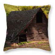 An Old Barn Falling In Throw Pillow