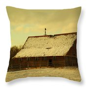 An Old Barn Just After An Early Spring Snow In Keene North Dakota  Throw Pillow