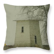 An Old Bin In The Snow Throw Pillow by Jeff Swan