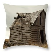 An Old Cabin In Eastern Montana Throw Pillow