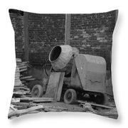 An Old Cement Mixer And Construction Material Throw Pillow