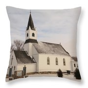 An Old Church In Palermo North Dakota Throw Pillow